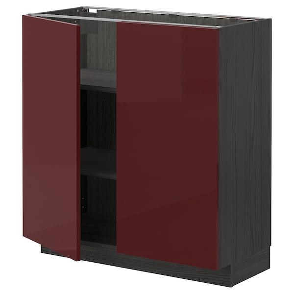 METOD Base cabinet with shelves/2 doors, black Kallarp/high-gloss dark red-brown, 80x37 cm