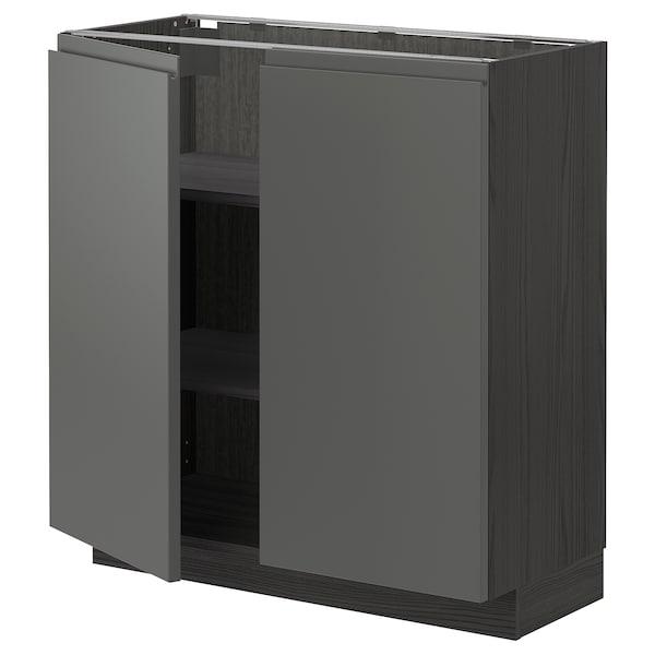 METOD Base cabinet with shelves/2 doors, black/Voxtorp dark grey, 80x37 cm