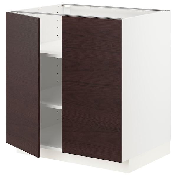 METOD Base cabinet with shelves/2 doors, white Askersund/dark brown ash effect, 80x60 cm