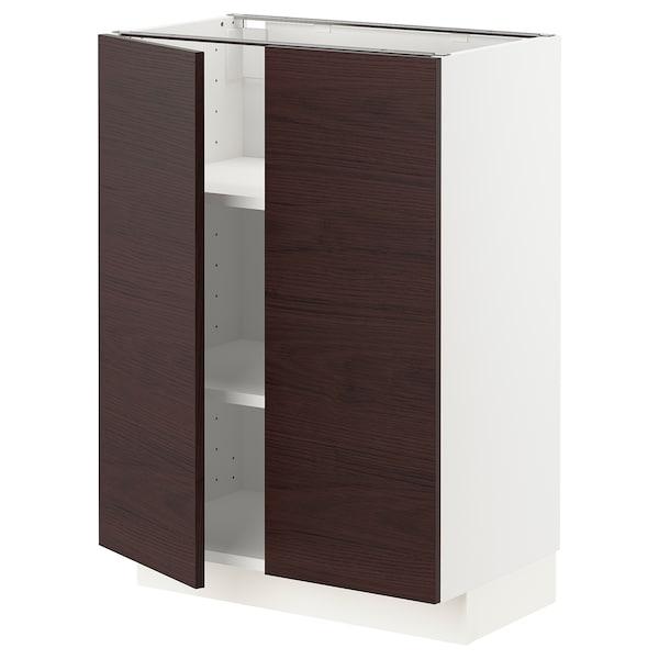 METOD Base cabinet with shelves/2 doors, white Askersund/dark brown ash effect, 60x37 cm