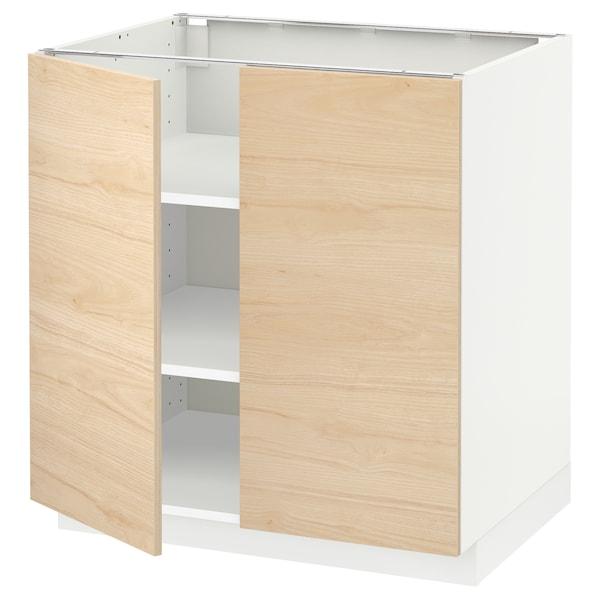 METOD Base cabinet with shelves/2 doors, white/Askersund light ash effect, 80x60 cm