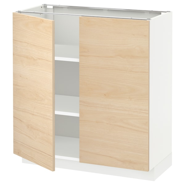 METOD Base cabinet with shelves/2 doors, white/Askersund light ash effect, 80x37 cm