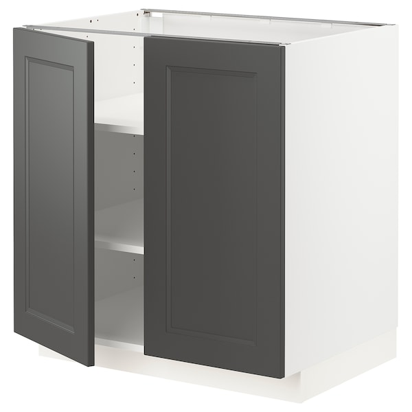 METOD Base cabinet with shelves/2 doors, white/Axstad dark grey, 80x60 cm