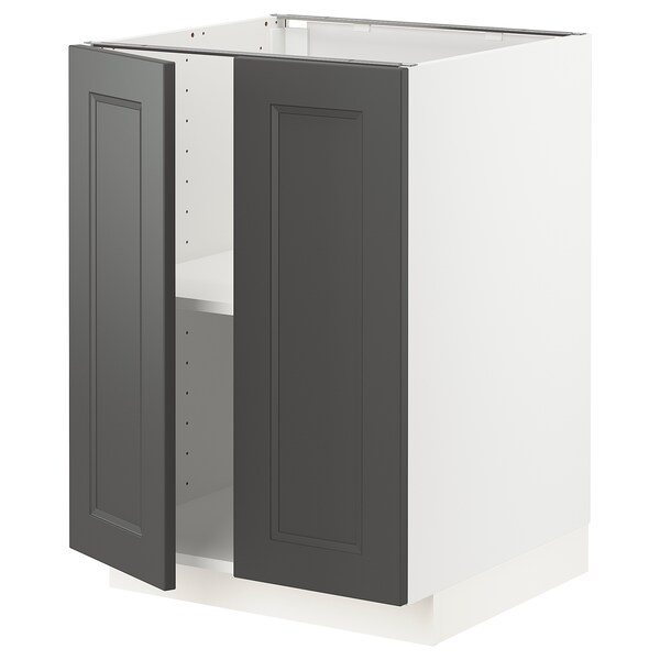 METOD Base cabinet with shelves/2 doors, white/Axstad dark grey, 60x60 cm