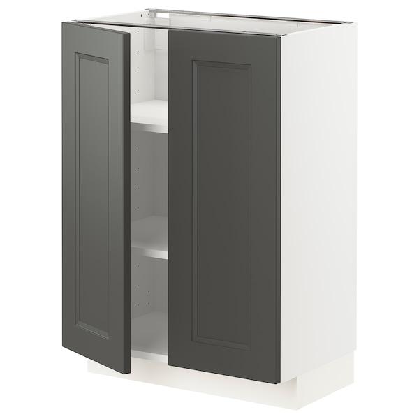 METOD Base cabinet with shelves/2 doors, white/Axstad dark grey, 60x37 cm