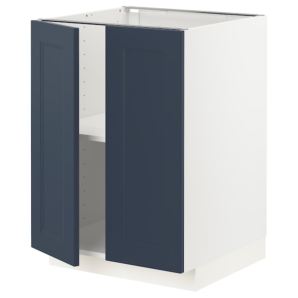 METOD Base cabinet with shelves/2 doors, white Axstad/matt blue, 60x60 cm