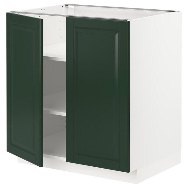 METOD Base cabinet with shelves/2 doors, white/Bodbyn dark green, 80x60 cm
