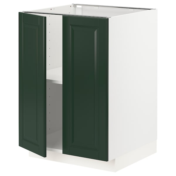 METOD Base cabinet with shelves/2 doors, white/Bodbyn dark green, 60x60 cm
