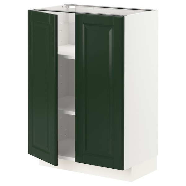 METOD Base cabinet with shelves/2 doors, white/Bodbyn dark green, 60x37 cm