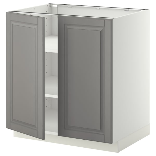 METOD Base cabinet with shelves/2 doors, white/Bodbyn grey, 80x60 cm