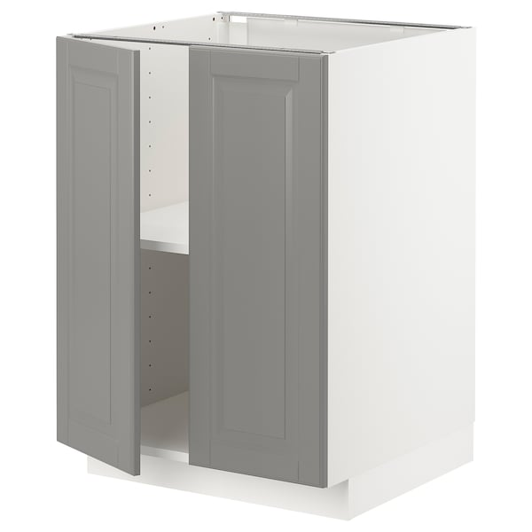 METOD Base cabinet with shelves/2 doors, white/Bodbyn grey, 60x60 cm