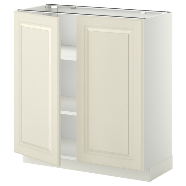 METOD Base cabinet with shelves/2 doors, white/Bodbyn off-white, 80x37 cm