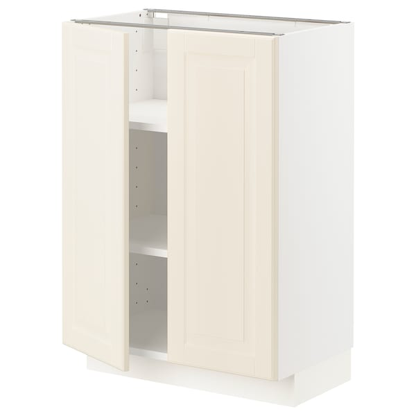 METOD Base cabinet with shelves/2 doors, white/Bodbyn off-white, 60x37 cm
