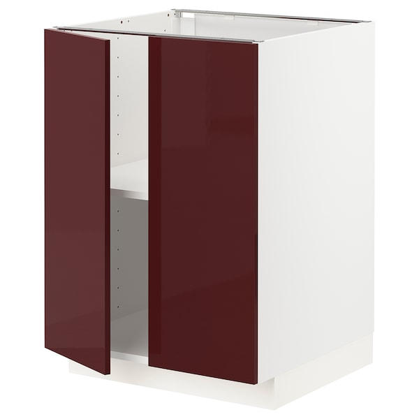 METOD Base cabinet with shelves/2 doors, white Kallarp/high-gloss dark red-brown, 60x60 cm