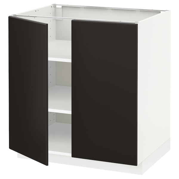METOD Base cabinet with shelves/2 doors, white/Kungsbacka anthracite, 80x60 cm
