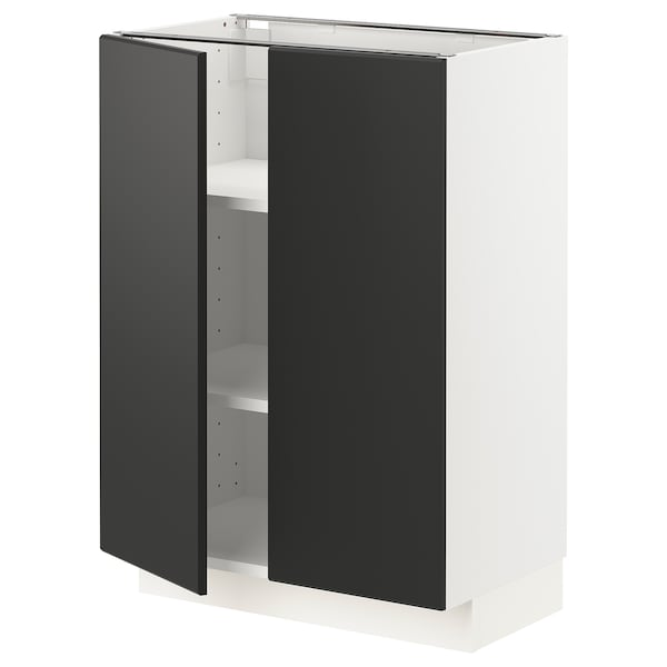METOD Base cabinet with shelves/2 doors, white/Kungsbacka anthracite, 60x37 cm