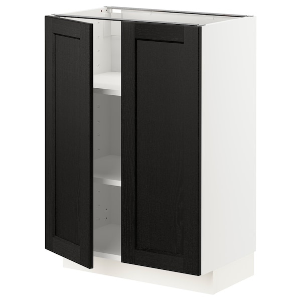 METOD Base cabinet with shelves/2 doors, white/Lerhyttan black stained, 60x37 cm
