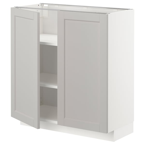 METOD Base cabinet with shelves/2 doors, white/Lerhyttan light grey, 80x37 cm