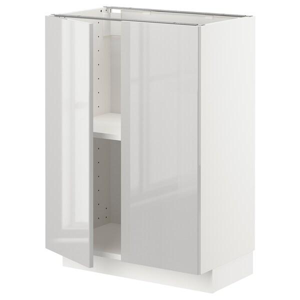 METOD Base cabinet with shelves/2 doors, white/Ringhult light grey, 60x37 cm