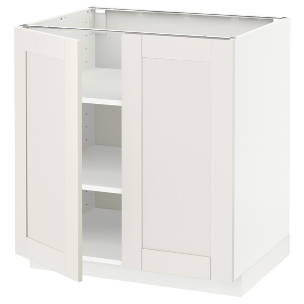 METOD Base cabinet with shelves/2 doors, white/Sävedal white, 80x60 cm