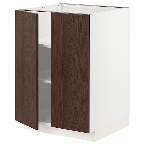 METOD Base cabinet with shelves/2 doors, white/Sinarp brown, 60x60 cm