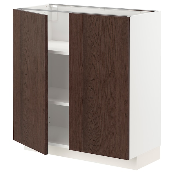 METOD Base cabinet with shelves/2 doors, white/Sinarp brown, 80x37 cm