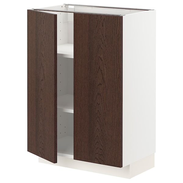 METOD Base cabinet with shelves/2 doors, white/Sinarp brown, 60x37 cm