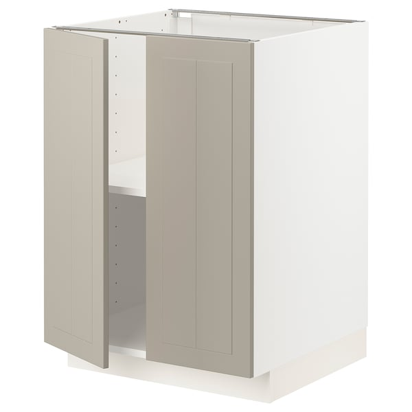 METOD Base cabinet with shelves/2 doors, white/Stensund beige, 60x60 cm