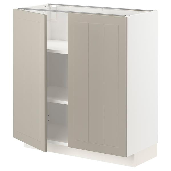 METOD Base cabinet with shelves/2 doors, white/Stensund beige, 80x37 cm