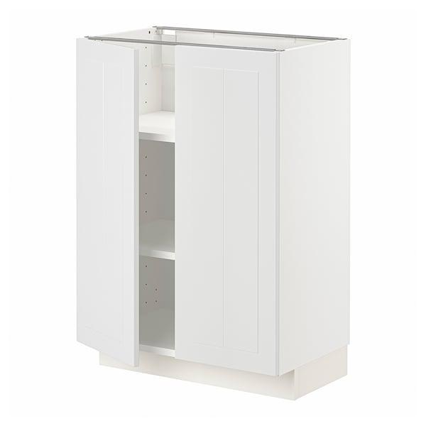 METOD Base cabinet with shelves/2 doors, white/Stensund white, 60x37 cm