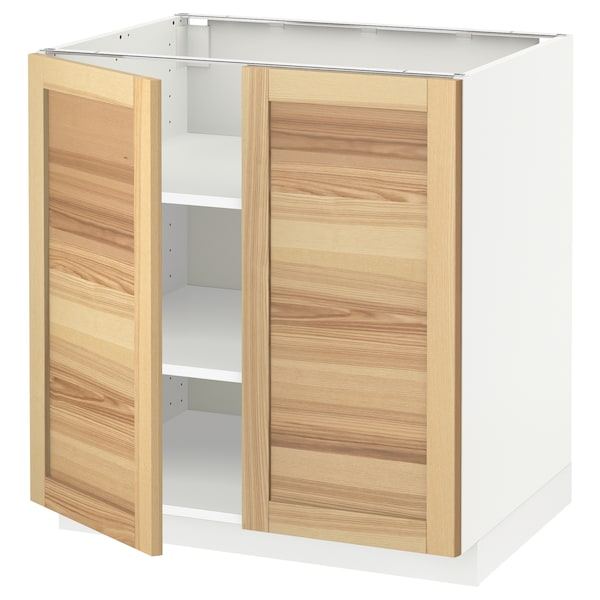 METOD Base cabinet with shelves/2 doors, white/Torhamn ash, 80x60 cm