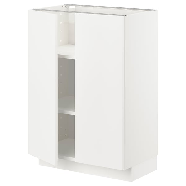 METOD Base cabinet with shelves/2 doors, white/Veddinge white, 60x37 cm