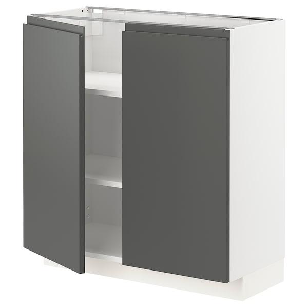 METOD Base cabinet with shelves/2 doors, white/Voxtorp dark grey, 80x37 cm