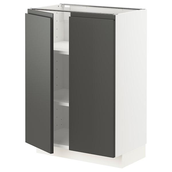 METOD Base cabinet with shelves/2 doors, white/Voxtorp dark grey, 60x37 cm
