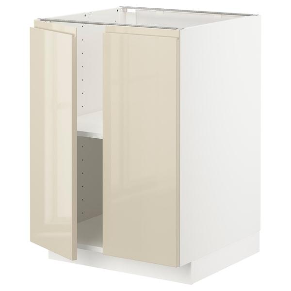 METOD Base cabinet with shelves/2 doors, white/Voxtorp high-gloss light beige, 60x60 cm