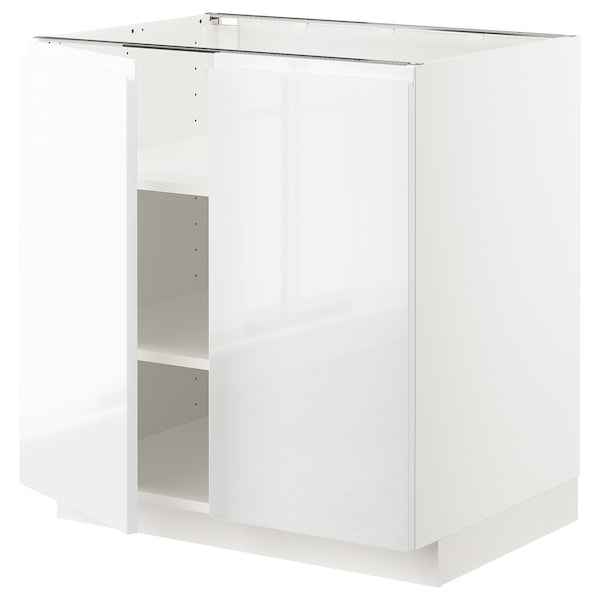 METOD Base cabinet with shelves/2 doors, white/Voxtorp high-gloss/white, 80x60 cm