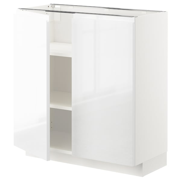 METOD Base cabinet with shelves/2 doors, white/Voxtorp high-gloss/white, 80x37 cm