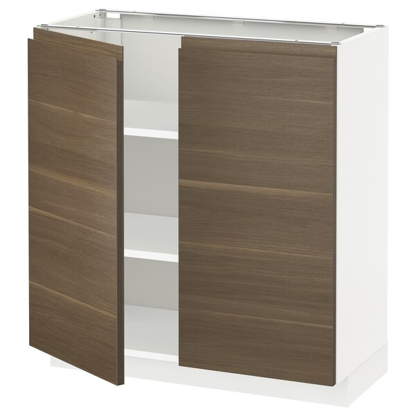 METOD Base cabinet with shelves/2 doors, white/Voxtorp walnut effect, 80x37 cm