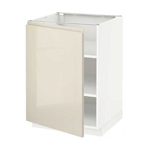 Metod Base Cabinet With Shelves White Voxtorp High Gloss Light Beige
