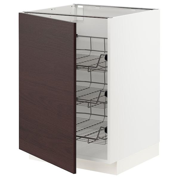METOD Base cabinet with wire baskets, white Askersund/dark brown ash effect, 60x60 cm