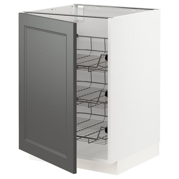 METOD Base cabinet with wire baskets, white/Axstad dark grey, 60x60 cm