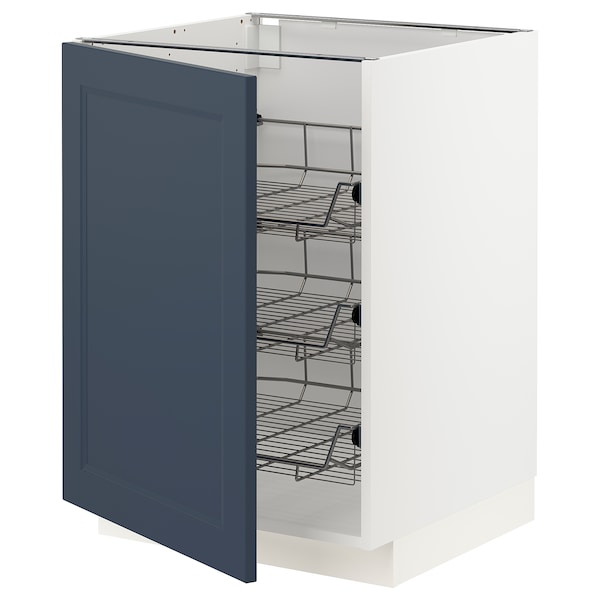 METOD Base cabinet with wire baskets, white Axstad/matt blue, 60x60 cm
