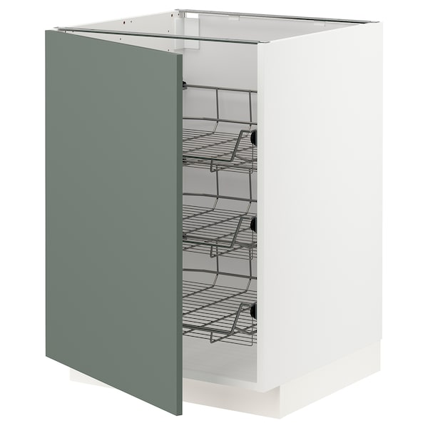 METOD Base cabinet with wire baskets, white/Bodarp grey-green, 60x60 cm