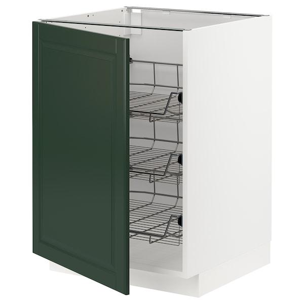 METOD Base cabinet with wire baskets, white/Bodbyn dark green, 60x60 cm