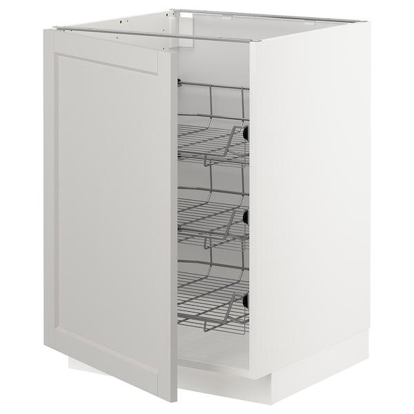 METOD Base cabinet with wire baskets, white/Lerhyttan light grey, 60x60 cm