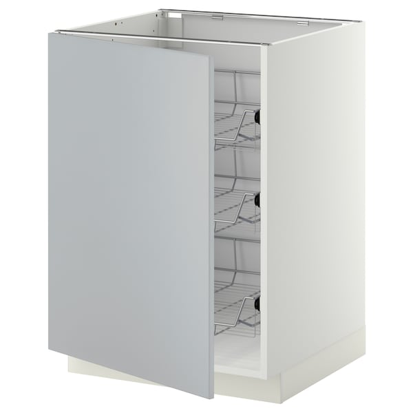 METOD Base cabinet with wire baskets, white/Veddinge grey, 60x60 cm