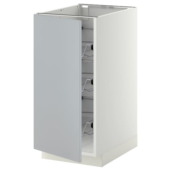 METOD Base cabinet with wire baskets, white/Veddinge grey, 40x60 cm