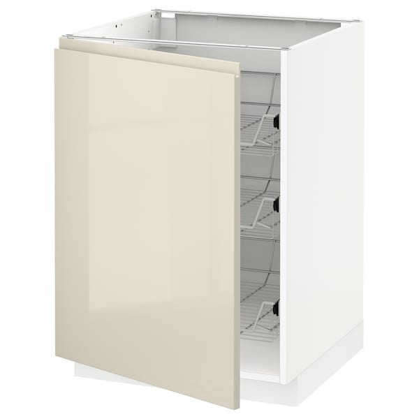 METOD Base cabinet with wire baskets, white/Voxtorp high-gloss light beige, 60x60 cm