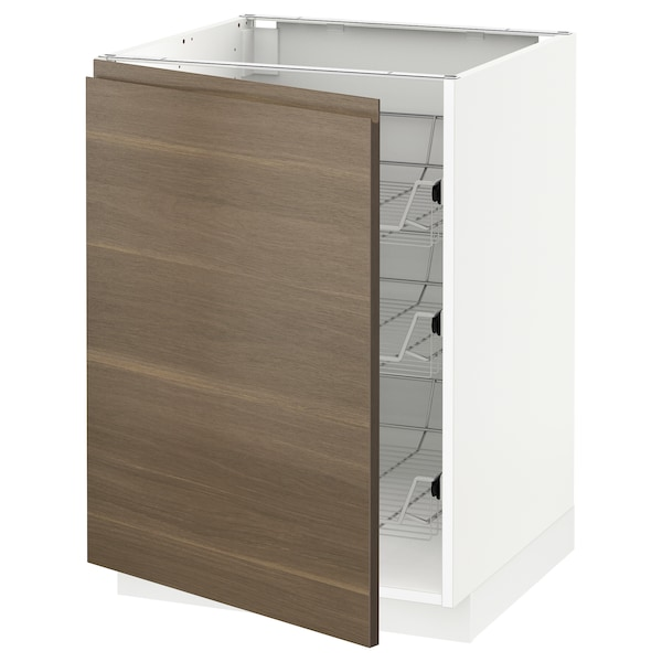 METOD Base cabinet with wire baskets, white/Voxtorp walnut effect, 60x60 cm