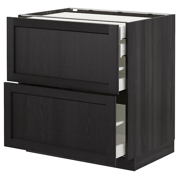 METOD Base cb 2 frnts/2 low/1 md/1 hi drw, black/Lerhyttan black stained, 80x60 cm